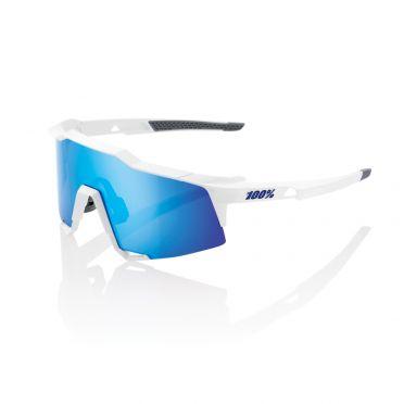 100% Speedcraft fietsbril wit met hiper lens blauw