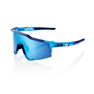 100% Speedcraft fietsbril polished crystal blauw met hiper lens blauw
