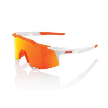 100% Speedcraft fietsbril wit met hiper lens soft oranje