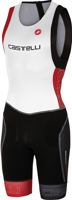 Castelli Free tri itu suit mouwloos heren wit/rood 16072-123