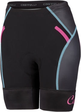 Castelli Free W tri short zwart/blauw/roze dames