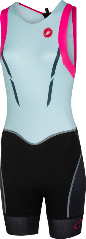 Castelli Free W tri itu suit mouwloos zwart/blauw/roze dames