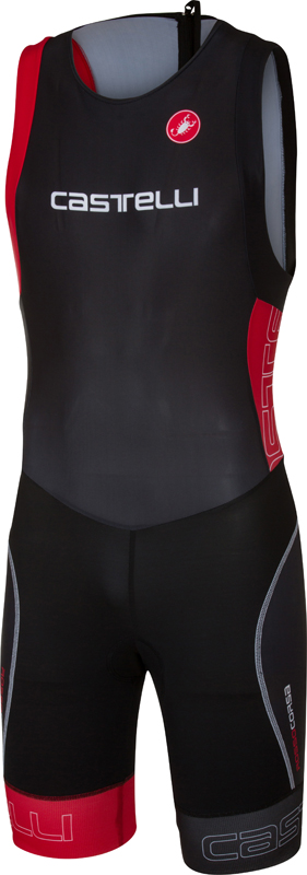 Castelli Short distance tri suit mouwloos zwart/rood heren