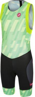 Castelli Short distance race trisuit rits achterzijde mouwloos pro groen/zwart heren