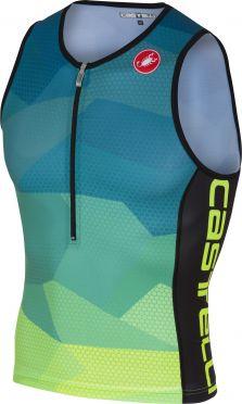Castelli Core 2 tri top blauw/fluo geel heren