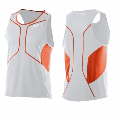 2XU Comp Run Singlet wit oranje (MR2285a)