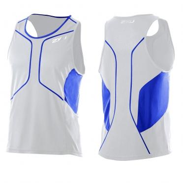 2XU Comp Run Singlet wit blauw (MR2285a)