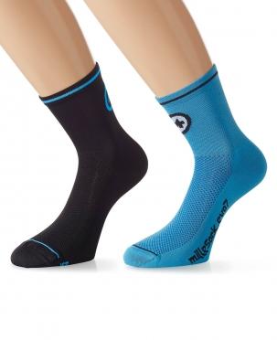 Assos MilleSock Evo7 Fietssokken 2-pack zwart blauw