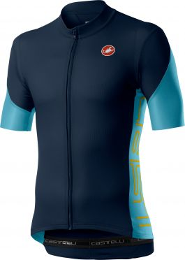 Castelli Entrata V korte mouw fietsshirt savile blauw heren