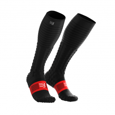 Compressport Full socks race & recovery compressiesokken zwart