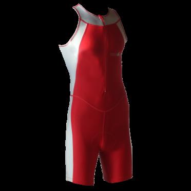 Ironman trisuit front zip mouwloos Skin suit rood/zilver heren