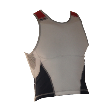 Ironman tri top mouwloos new olympic wit/blauw heren