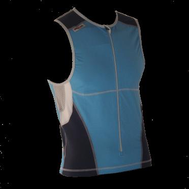 Ironman tri top front zip mouwloos bodysuit blauw heren