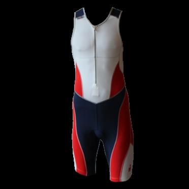 Ironman trisuit front zip mouwloos bodysuit wit/blauw/rood heren