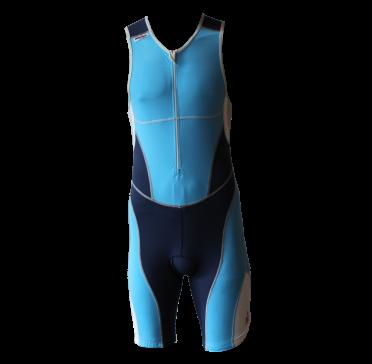 Ironman trisuit front zip mouwloos bodysuit blauw heren