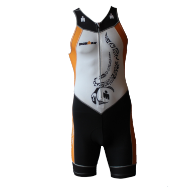 Ironman trisuit front zip mouwloos multisport tattoo wit/oranje heren