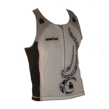 Ironman tri top front zip mouwloos multisport tattoo wit/zwart/zilver heren