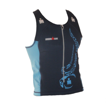 Ironman tri top front zip mouwloos multisport tattoo blauw heren