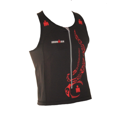 Ironman tri top front zip mouwloos multisport tattoo zwart/rood heren