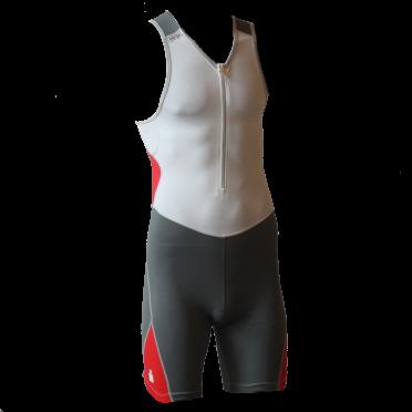 Ironman trisuit front zip mouwloos bodysuit wit/antraciet heren
