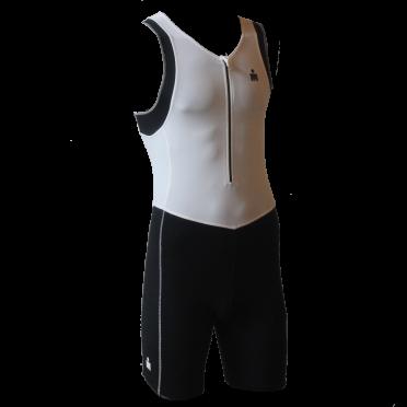 Ironman trisuit front zip mouwloos B9 wit/zwart heren