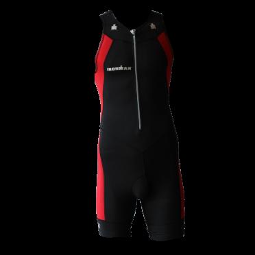 Ironman trisuit front zip mouwloos multisport zwart/rood heren