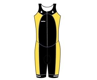 Ironman trisuit front zip mouwloos multisport zwart/geel heren