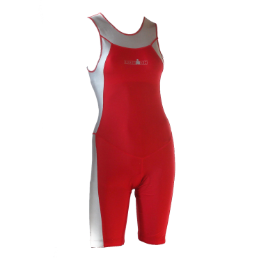 Ironman trisuit back zip mouwloos Skin suit rood/zilver dames