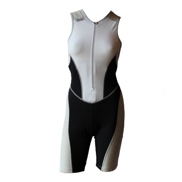 Ironman trisuit front zip mouwloos bodysuit wit/zwart dames