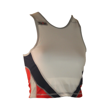 Ironman tri top mouwloos extreme 360 wit/rood/blauw dames
