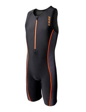 Zone3 Adventure mouwloos kinder trisuit zwart/oranje