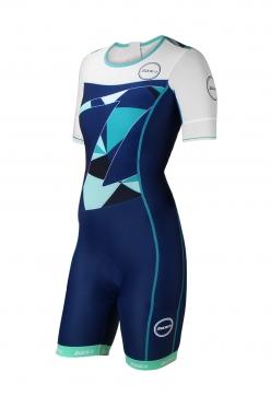 Zone3 Lava Aerosuit korte mouwen blauw/groen/wit dames