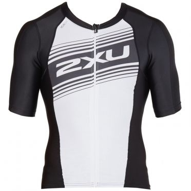 2XU Compression Korte mouw tri top zwart/wit heren