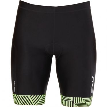 "2XU Perform 9"" tri shorts zwart/groen heren"