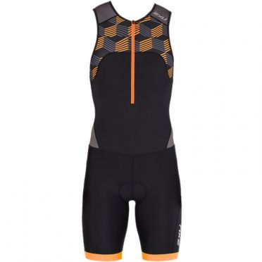 2XU Active mouwloos trisuit zwart/oranje heren