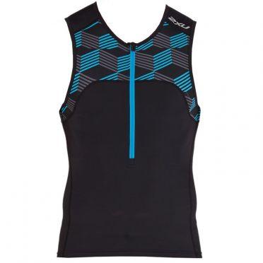 2XU Active mouwloos tri top zwart/blauw heren