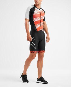 2XU Compression korte mouw trisuit zwart/rood heren