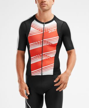 2XU Compression Korte mouw tri top zwart/rood heren