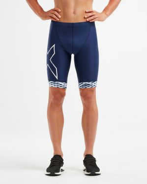 2XU Compression tri shorts blauw/wit heren
