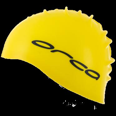 Orca Siliconen badmuts swim cap geel