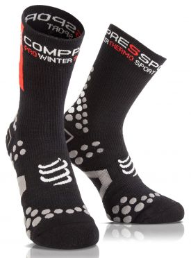 Compressport V2.1 winter fietssokken zwart