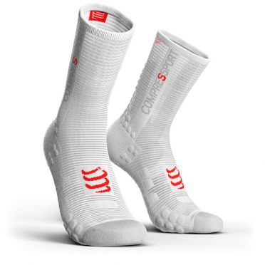 Compressport Pro racing v3.0 hoge fietssokken wit