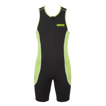 Arena ST front zip mouwloos trisuit zwart/groen heren
