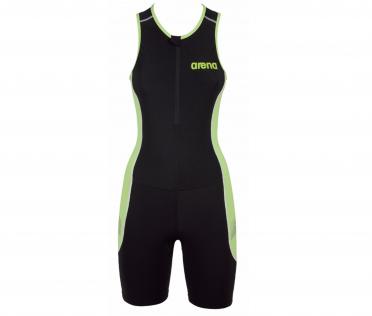 Arena ST front zip mouwloos trisuit zwart/groen dames