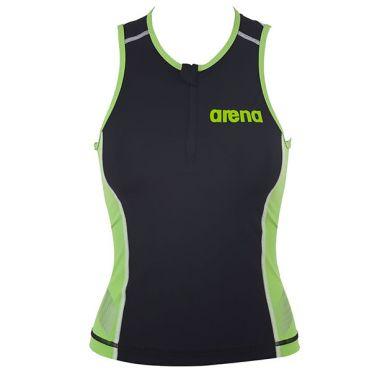 Arena ST mouwloos tri top zwart/groen dames