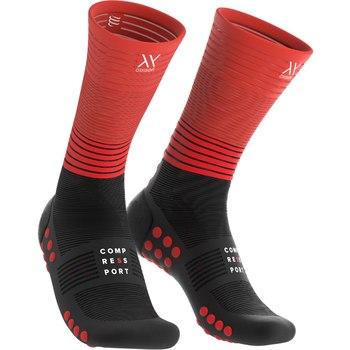 Compressport mid compressie sokken Oxygen zwart/rood