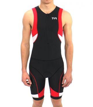 TYR Competitor trisuit frontzip zwart/rood heren