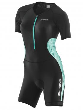 Orca Core race korte mouw trisuit zwart/groen dames