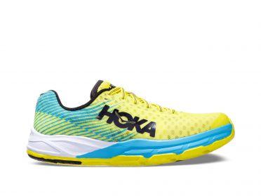 Hoka One One Evo Carbon Rocket hardloopschoenen blauw/geel dames