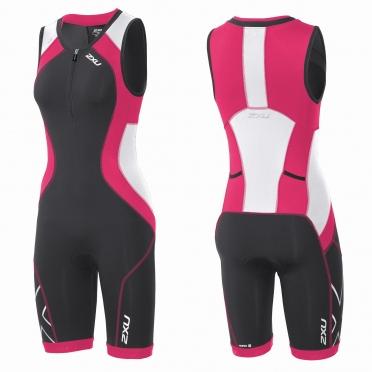 2XU Compression Full Zip trisuit zwart/roze dames